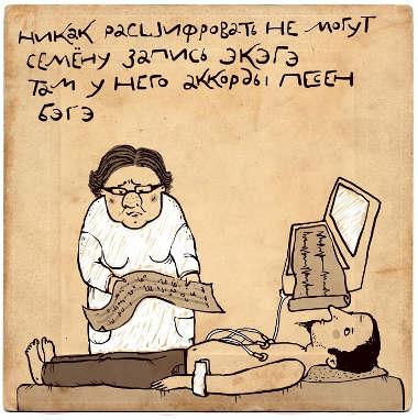 Врач птается расшифровать кардиограмму.